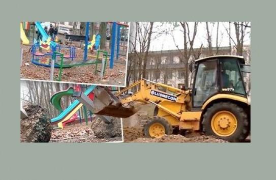 На Рышкановке сотрудники строительной компании снесли детскую площадку
